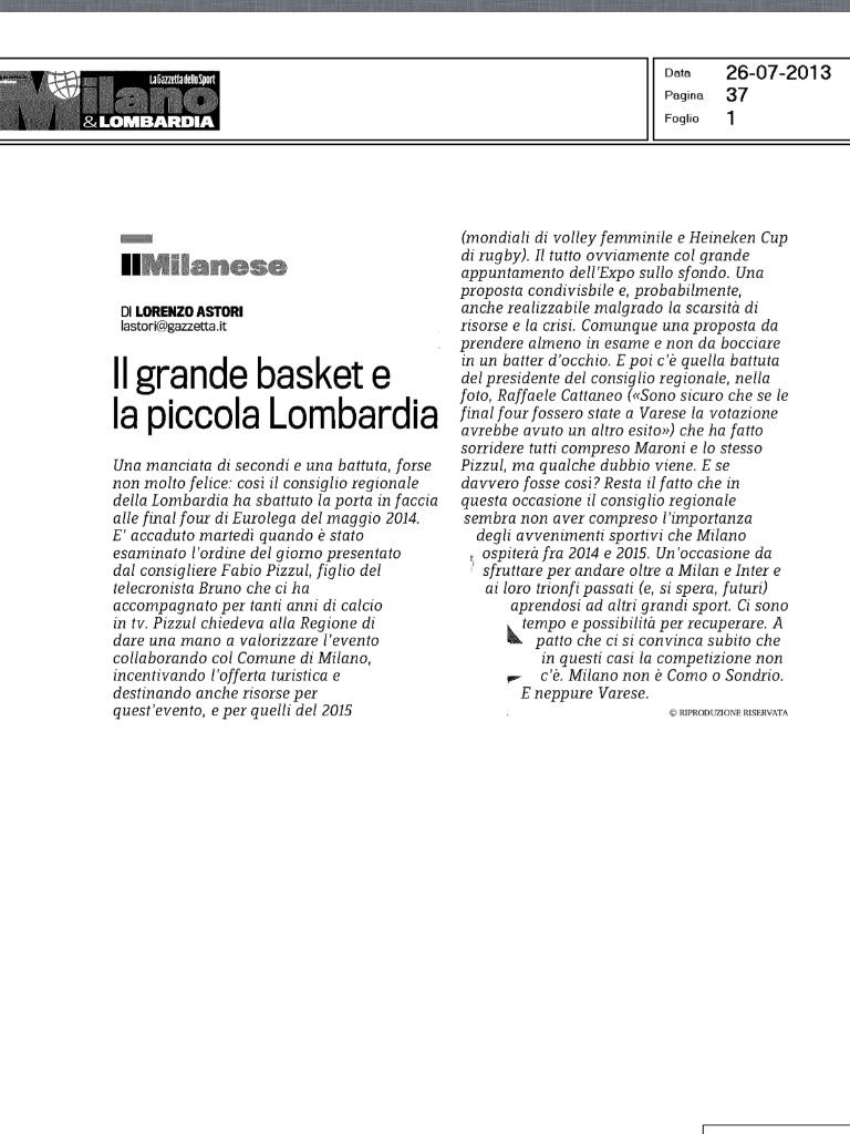 Il commento della Gazzetta Lombardia