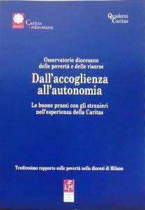 La copertina del volumetto che raccoglie i dati del 13° rapporto sulle povertà nella diocesi di Milano