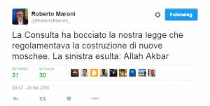 tweet Maroni su moschee